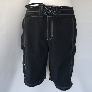 Lands' End Women's Black Board Shorts Bermuda Sz 6